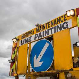 highway maintenance line painting sign